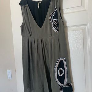 Petticoat alley silk tunic dress with beading sz M